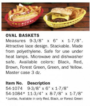 Oval basket 9 3/8x6x1 7/8 Red, plastic