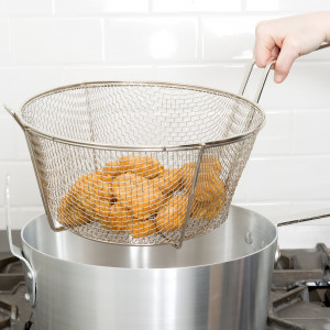 "Round Mesh Fryer Basket, 9.5"" diameter"