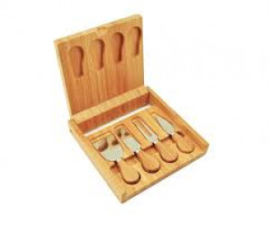 Bamboo cheese board and tool set