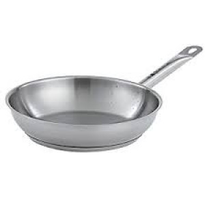 "Optio 9.5"" stainless fry pan w/ clad bottom"