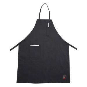 Bib apron black, 1 pocket, 1 front pocket