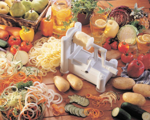 Curly fry cutter and spiral vegetable slicer