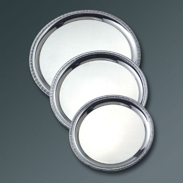 """Serving tray, S/S, 14"""" round"""