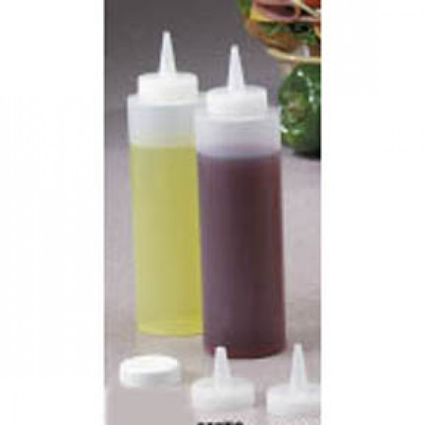Squeeze Bottle 12 oz, Clear, 6/pack wide mouth